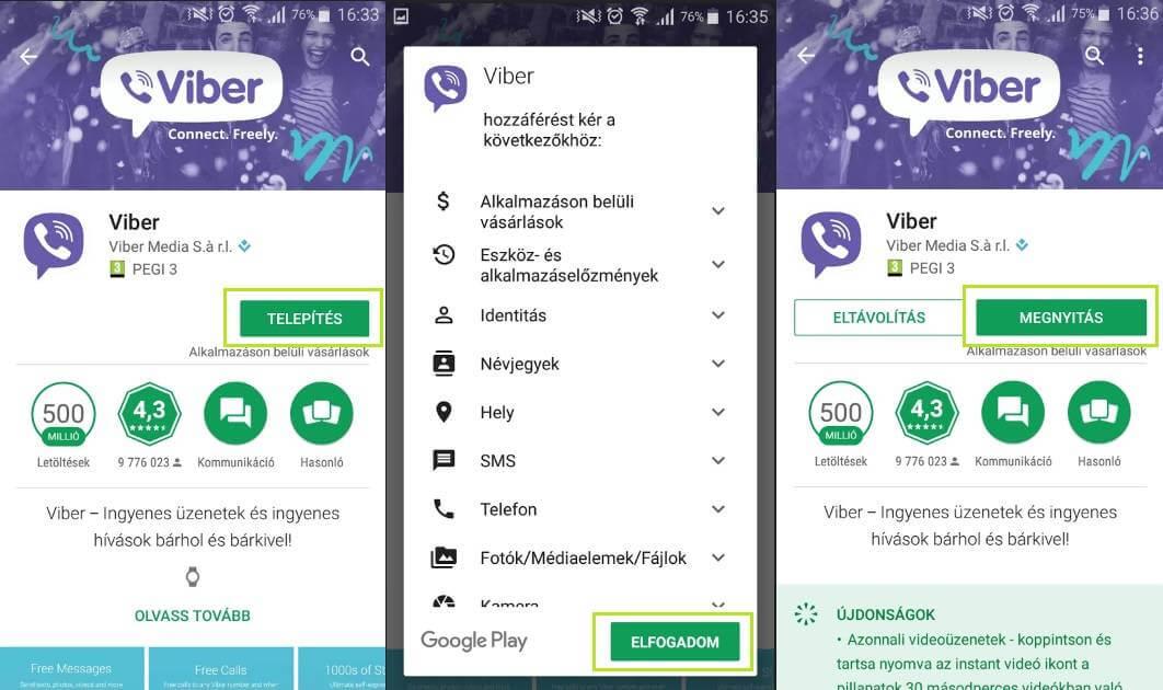 Viber android letöltése és telepítése