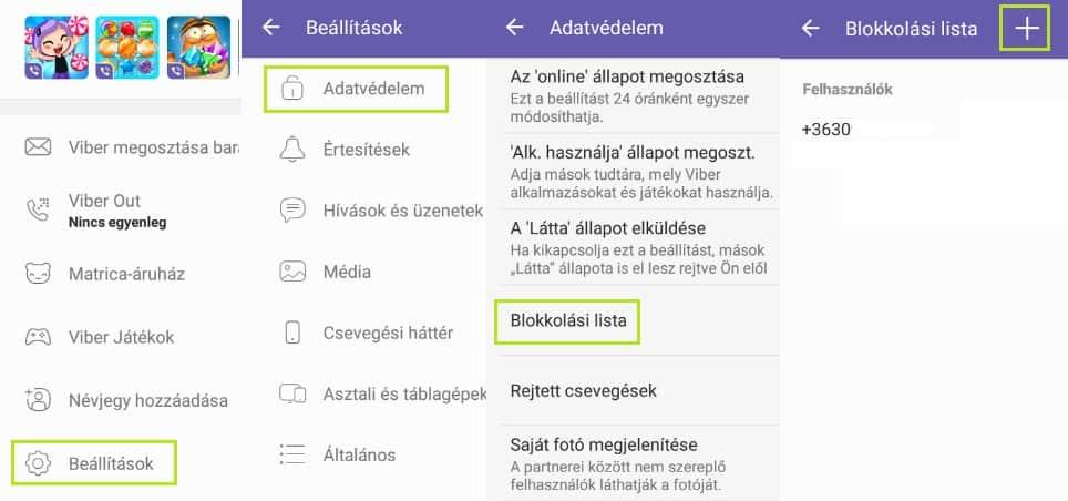 Viber blokkolási lista