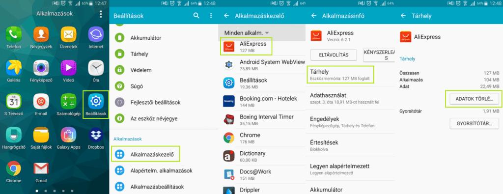 Android alkalmazás adatoktörlése