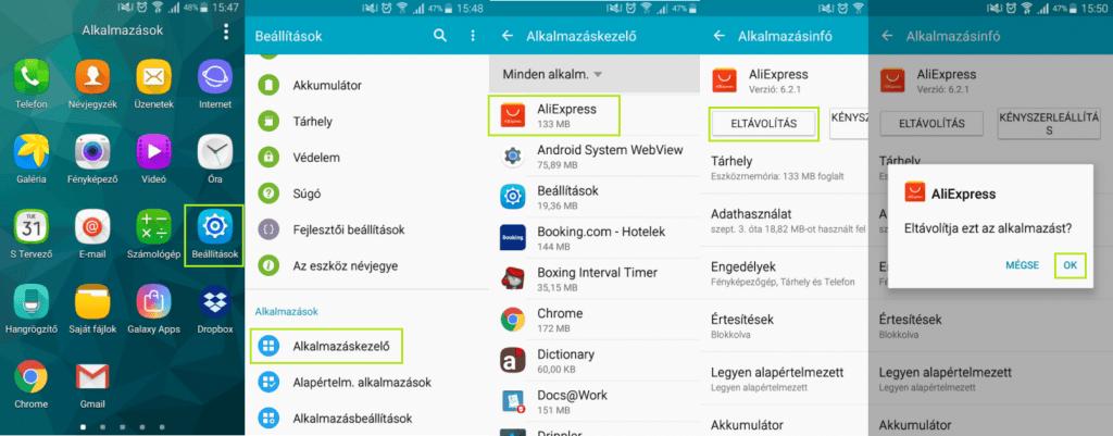 Android alkalmazás törlése