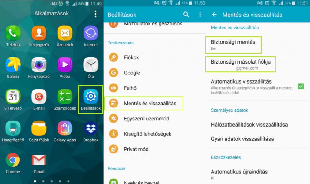 Android biztonsági mentés aktiválása