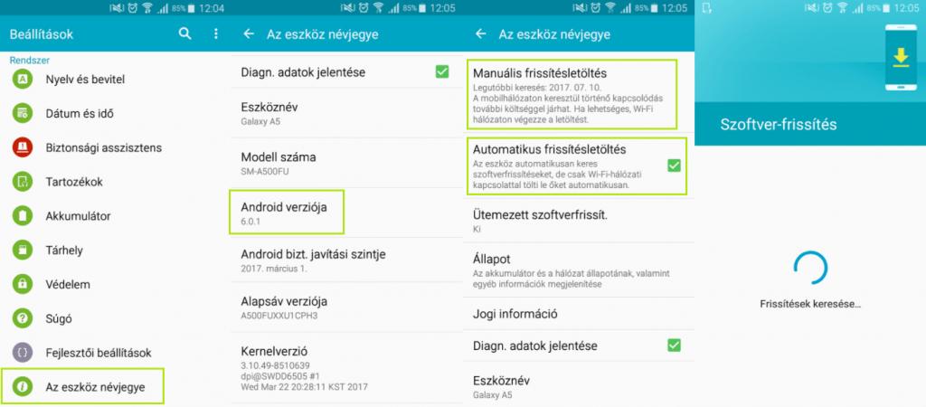 Android frissítés letöltés