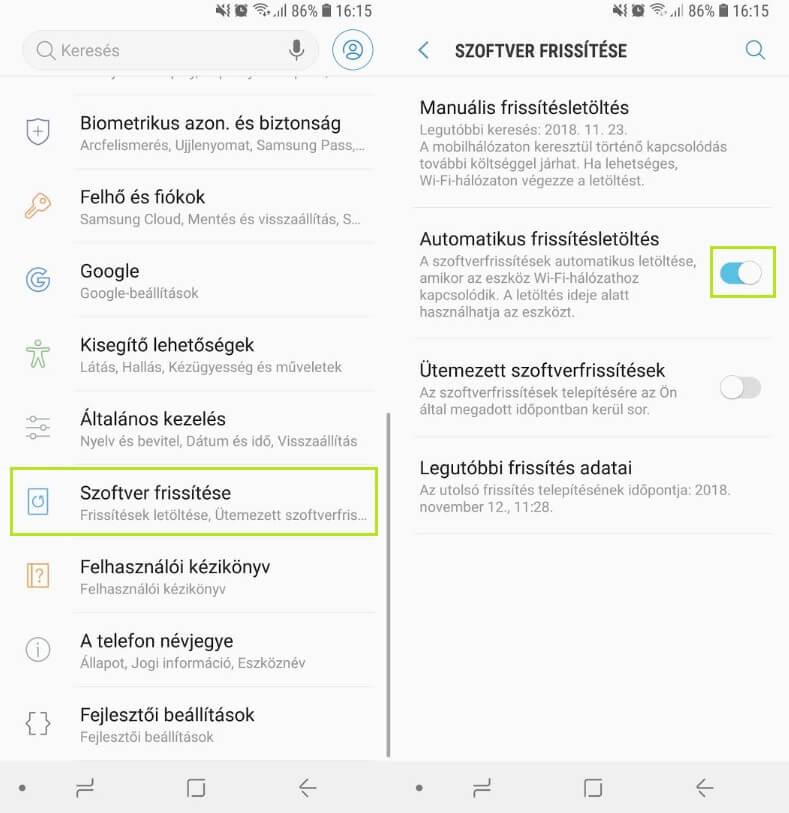 Android rendszer frissítés letöltés letiltása Android 8