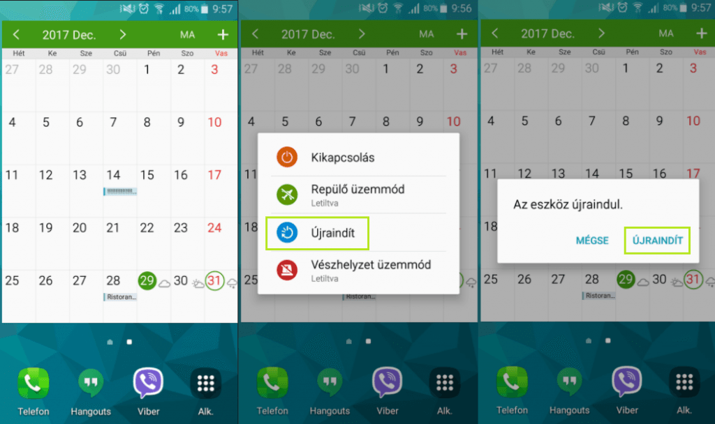 Android újraindítás Samsung telefonokon