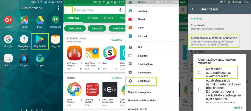 Automatikus frissítés kikapcsolása Android telefonokon