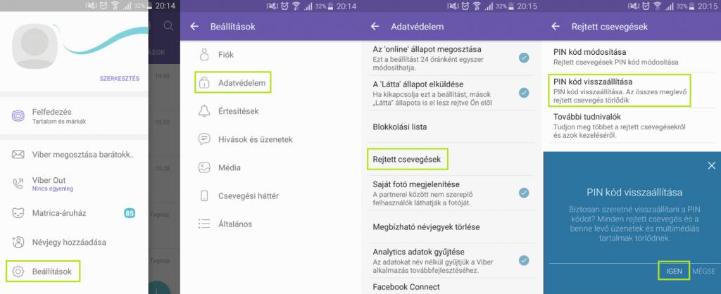 Viber rejtett csevegés PIN kód visszaállítása