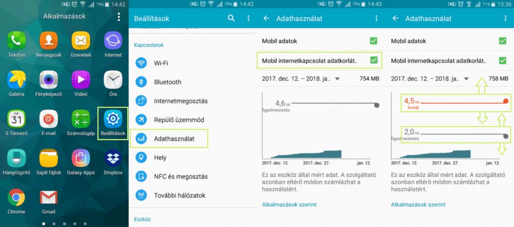 Android adatforgalom korlátozás beállítása