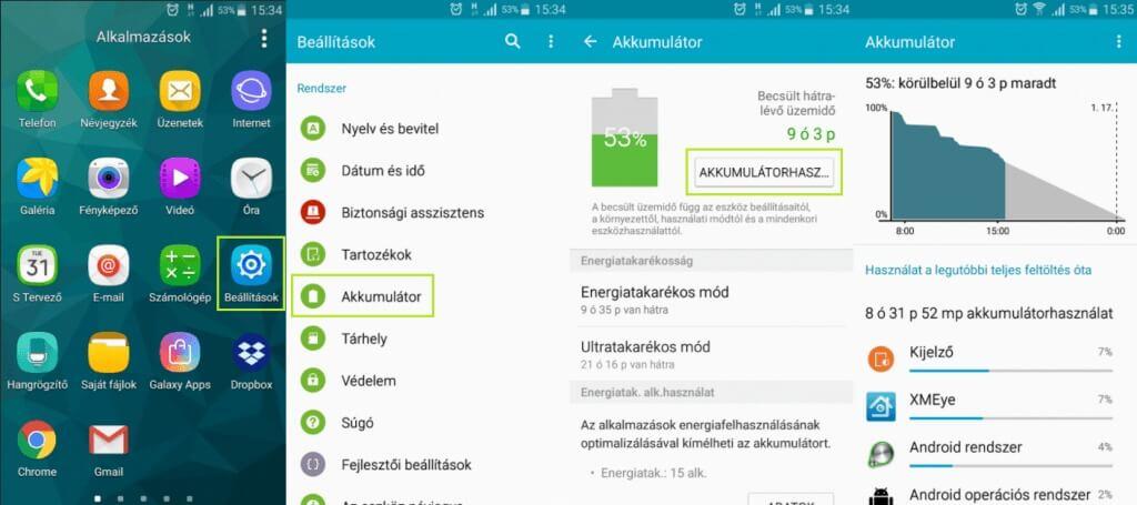 Android akkumulátor használat
