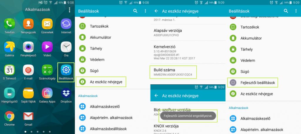 Android fejlesztői mód bekapcsolása