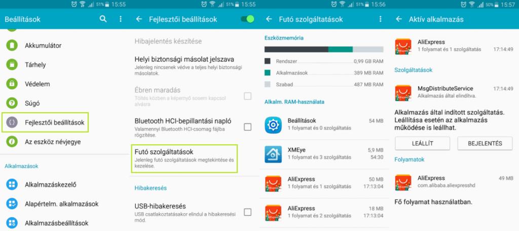 Android háttérben futó folyamatok ellenőrzése
