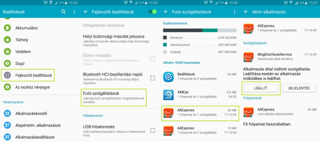 Android háttérben futó folyamatok leállítása átmenetileg