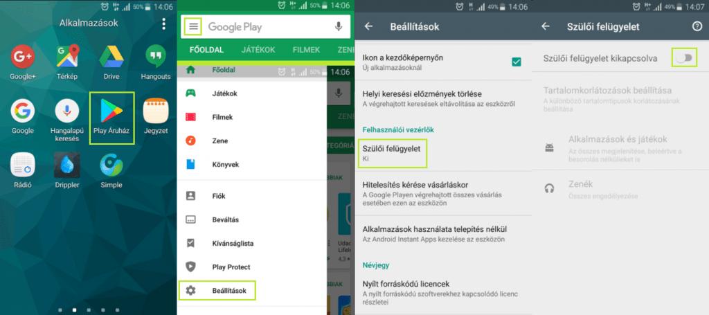 Android szülői felügyelet aktiválása a Play Áruházban