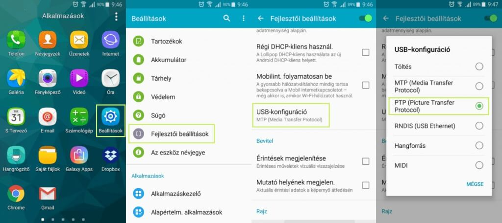 Android USB konfiguráció beállítása