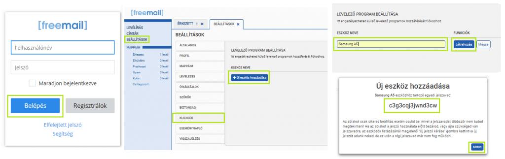 Freemail android kliens hozzáadása