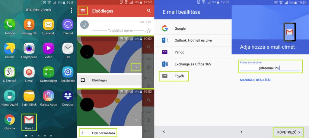 Freemail fiók beállítása android telefonon