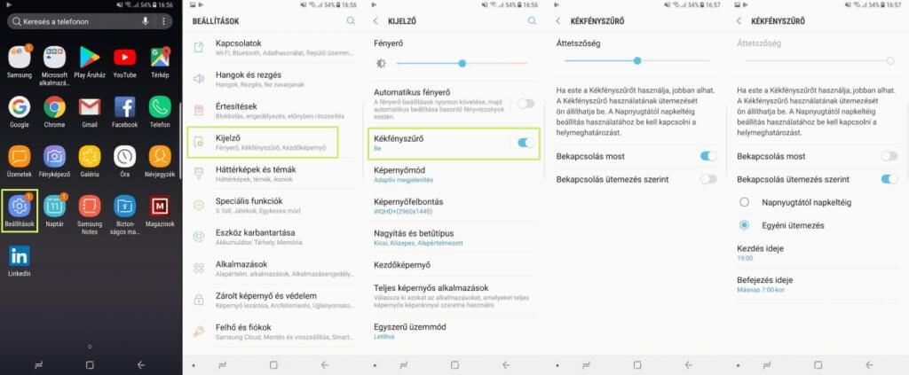 Android éjszakai üzemmód használata