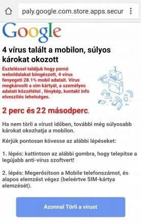 Android vírus figyelmeztetés