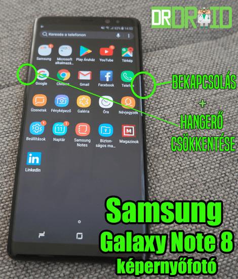Samsung Galaxy Note 8 képernyőfotó készítés gombokkal