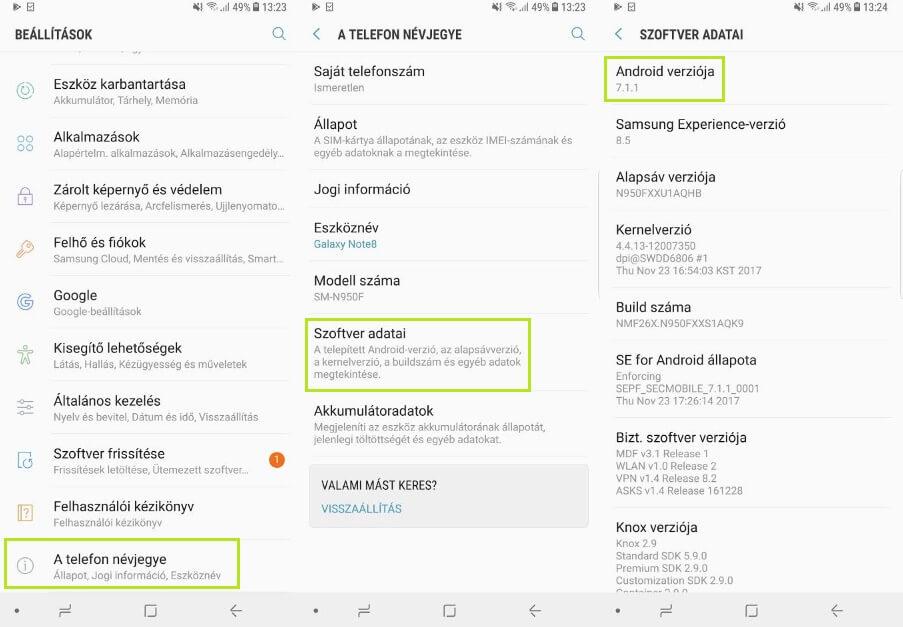 Android verzió ellenőrzése