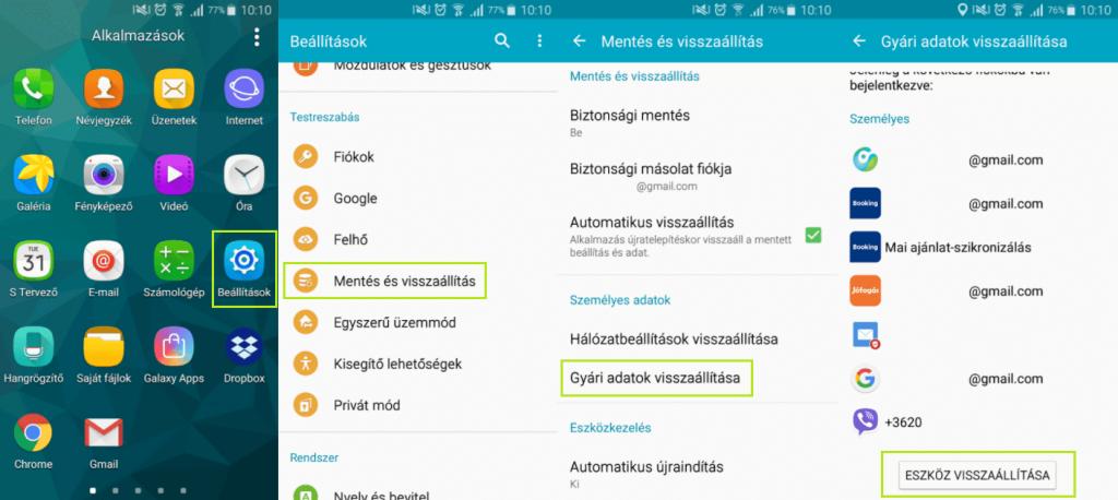 Factory reset Samsung telefonokon android 6