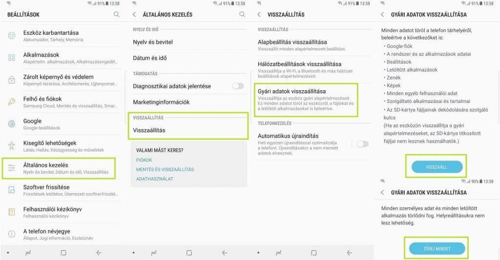 Factory reset Samsung telefonokon android 7
