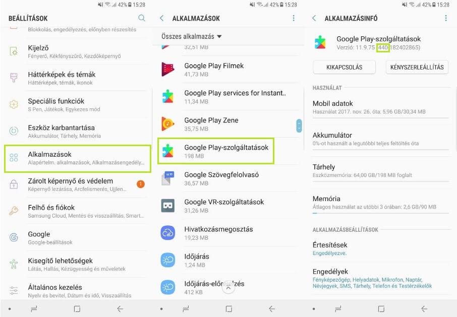 Google Play szolgáltatások verzió meghatározása