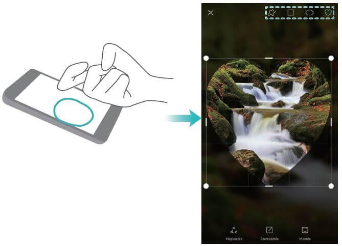 Huawei P9 részleges képernyőfotó készítése