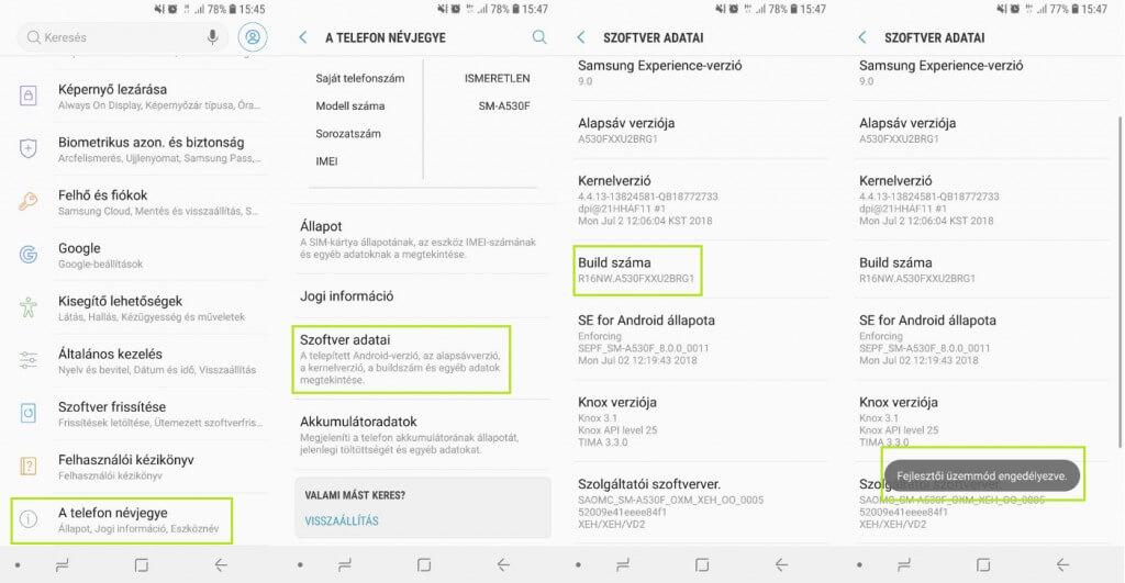 Android fejlesztői üzemmód aktiválása
