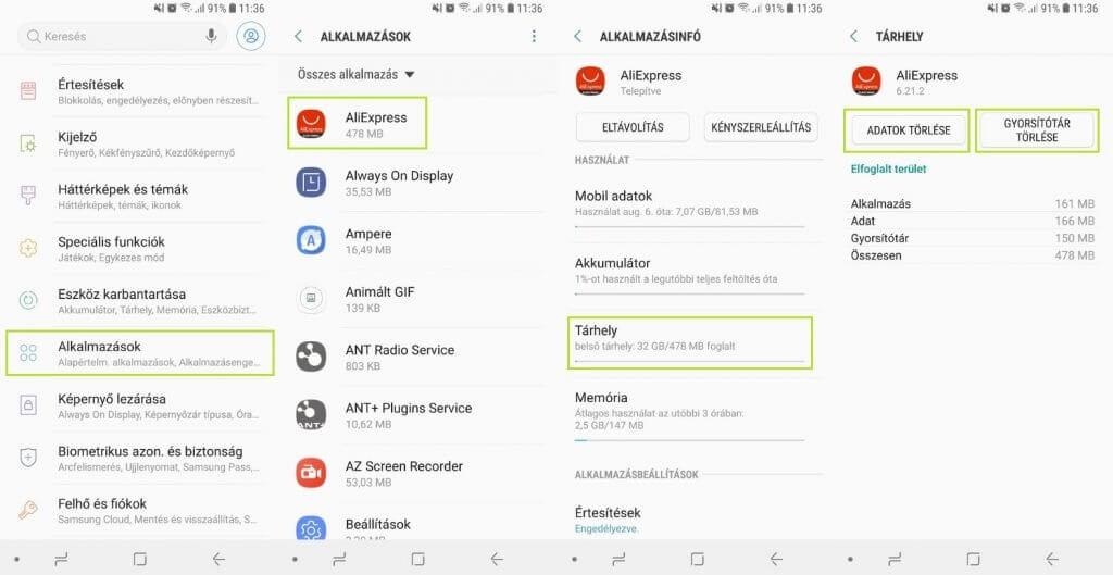Android 8 gyorsítótár törlése