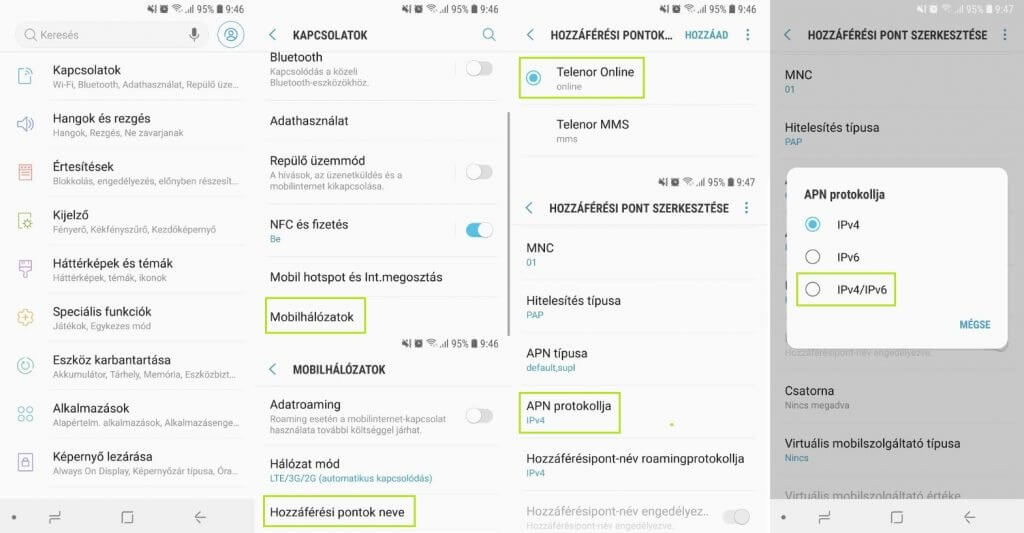 Android APN protokoll beállítása