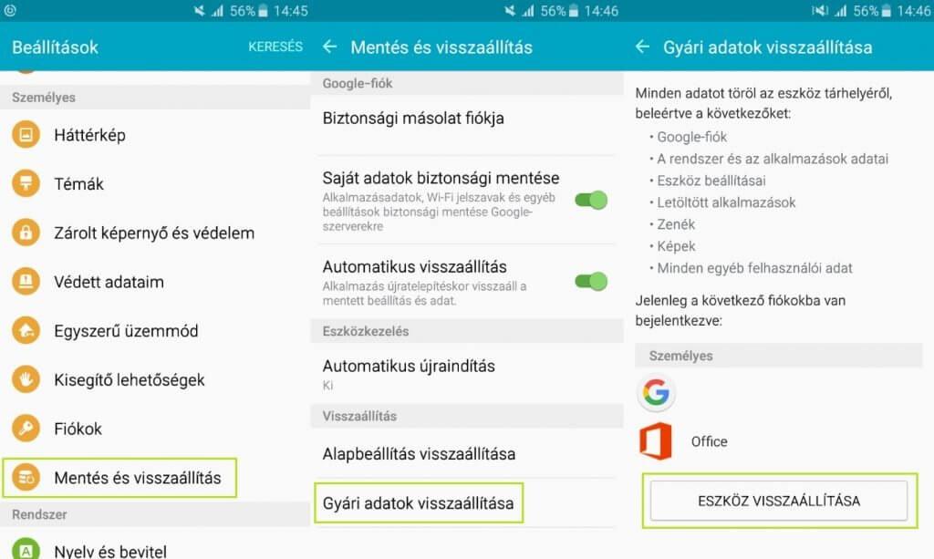 Android gyári beállítások visszaállítása - Android 5.1