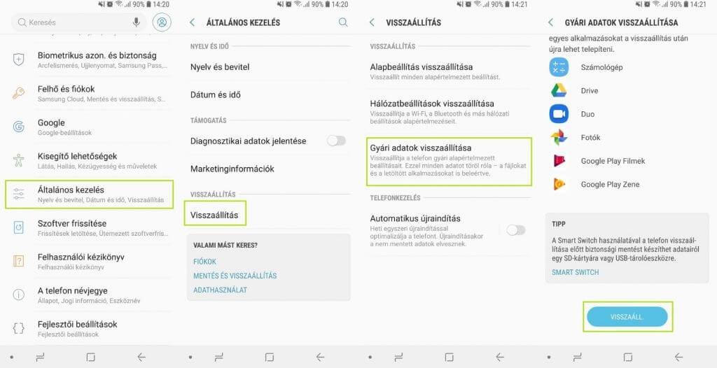 Android gyári beállítások visszaállítása - Android 8.0