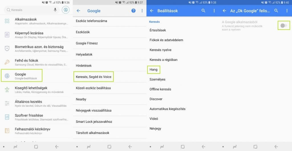 Android hangalapú keresés kikapcsolása