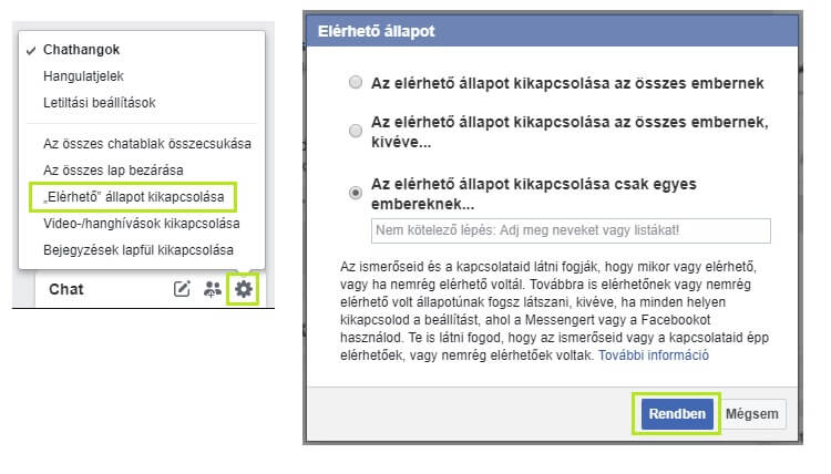 Facebook.com online státusz kikapcsolása