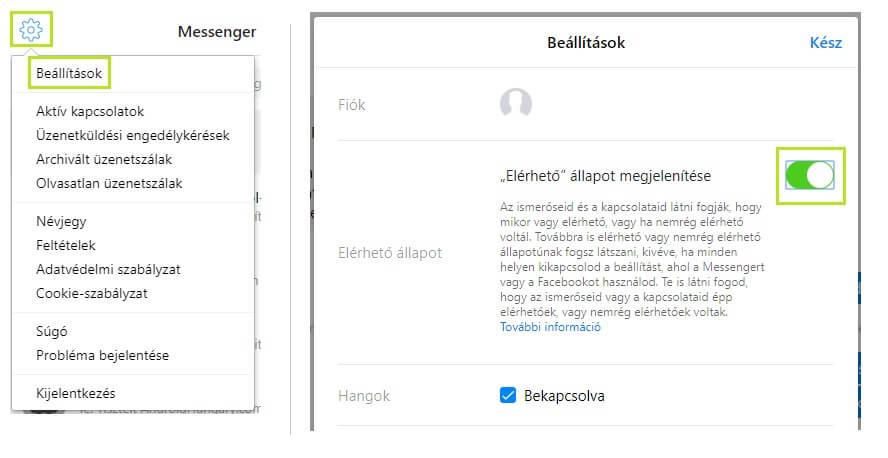 Messenger.com online státusz kikapcsolása