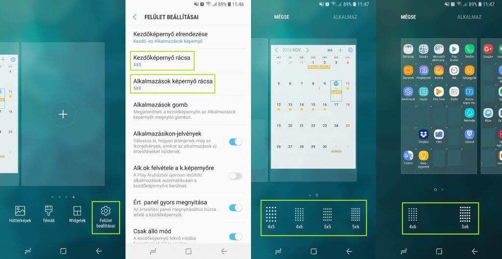 Samsung ikonok kicsinyítése