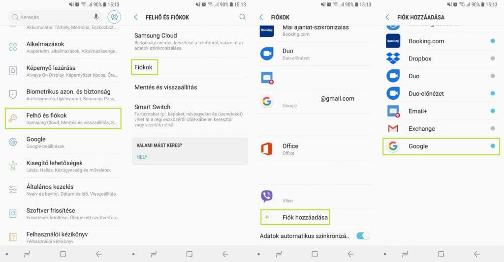 Google fiók létrehozása Android 8