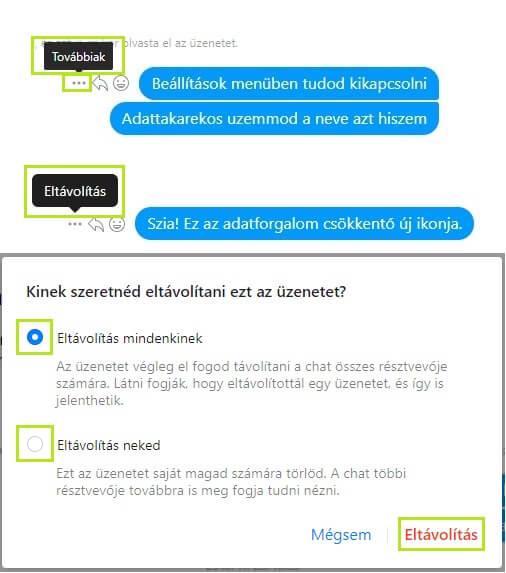 Messenger üzenet törlése számítógépen