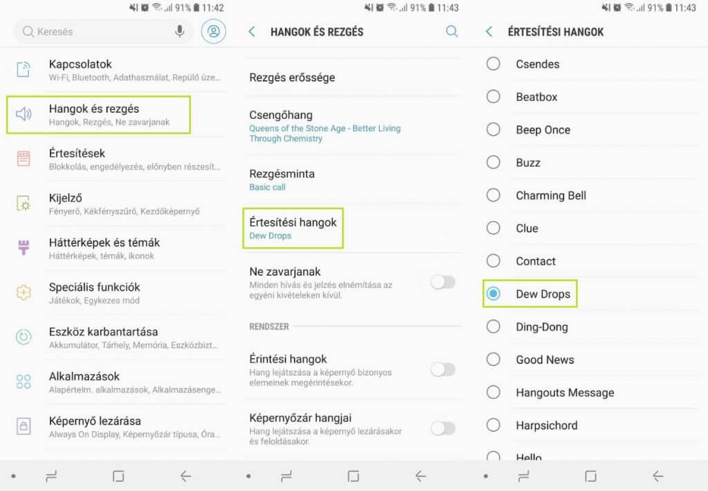 Android értesítési hang beállítása