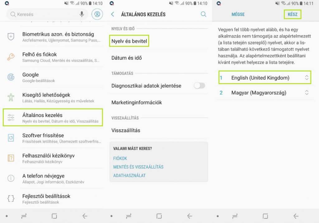 Messenger nyelv beállítás android telefonokon