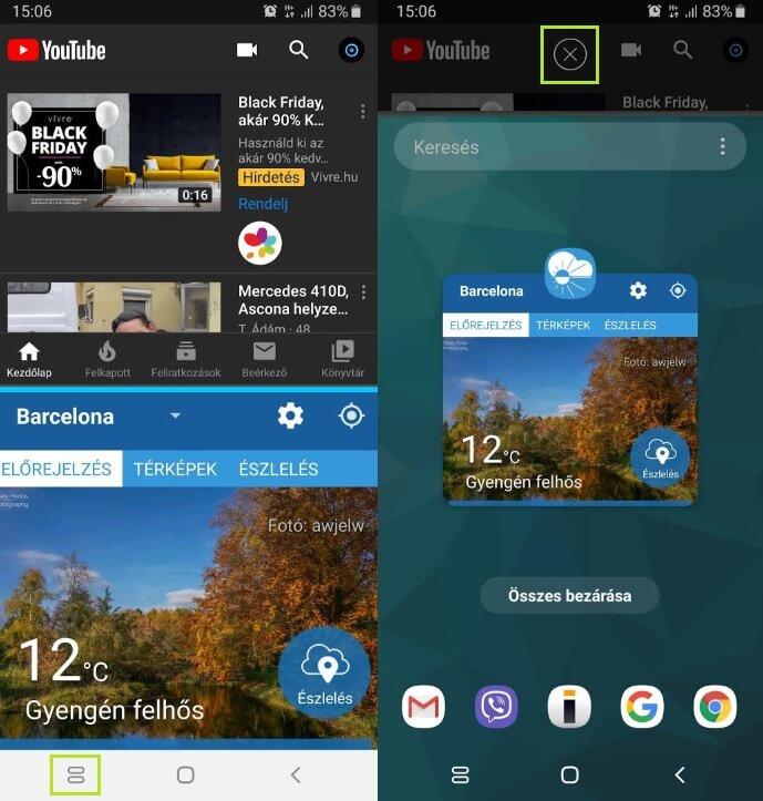 Android osztott képernyő kikapcsolása