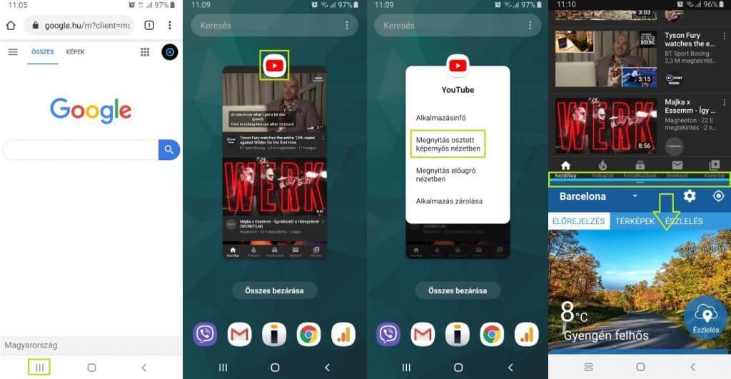 Android osztott képernyő használata Samsung telefonokon