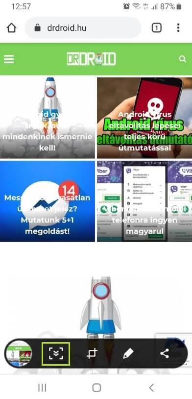 Samsung görgetéses képernyőfotó